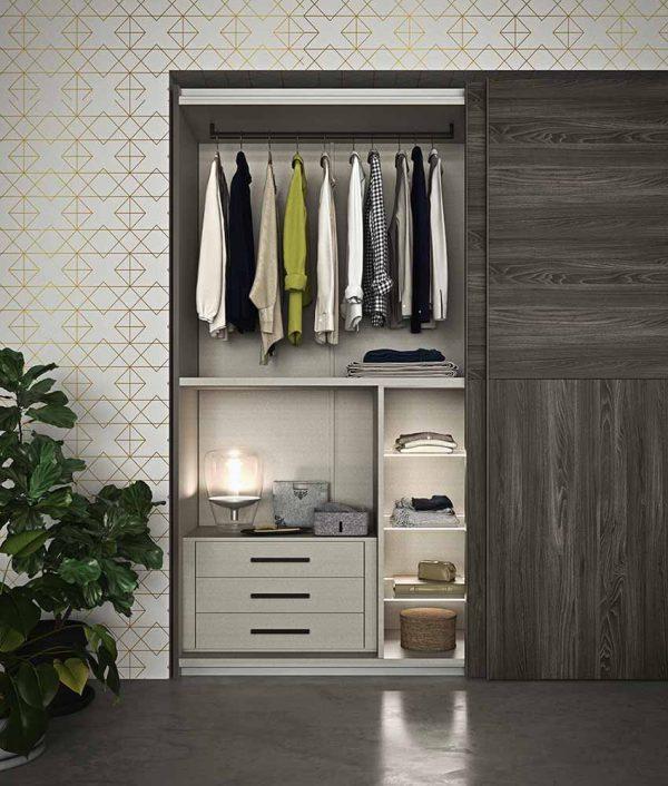 cinquepuntozero spazio notte armadio aperto scorrevole legno