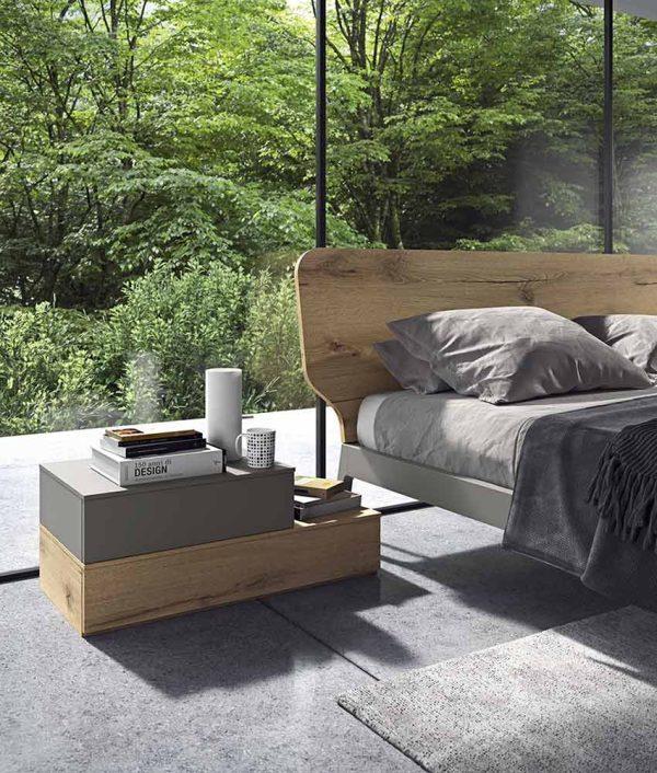 cinquepuntozero spazio notte basi comodino e letto legno