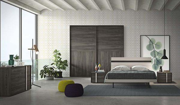 cinquepuntozero spazio notte camera da letto legno con inserti laccato
